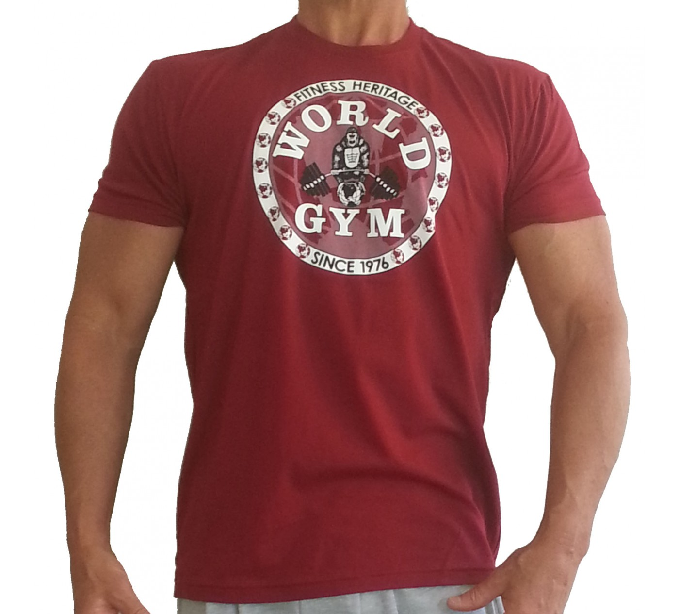 W155 World Gym camisa culturismo logotipo del círculo