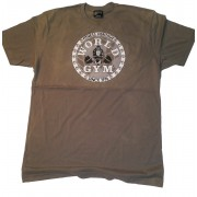 CLOSEOUT- W-015 World Gym T-shirt TAN Fitness Heritage