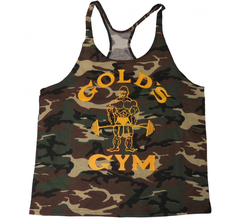 G300-CAMO Golds Gym Camo Stringer Tank Top Mens Y-Back Joe Logo camouflage