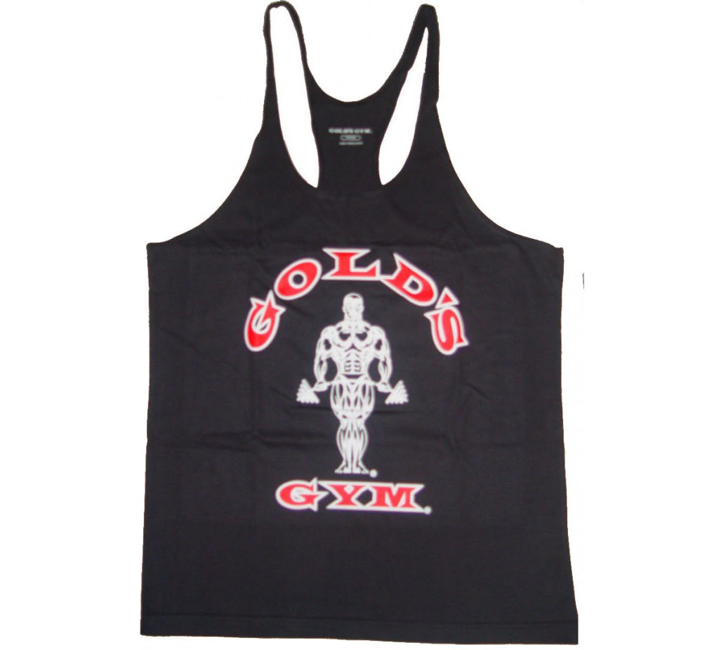 CLOSEOUT, OVERSTOCK- G301 Golds Gym String Tank Top Mens Y-Back To Logo - NO REFUNDS