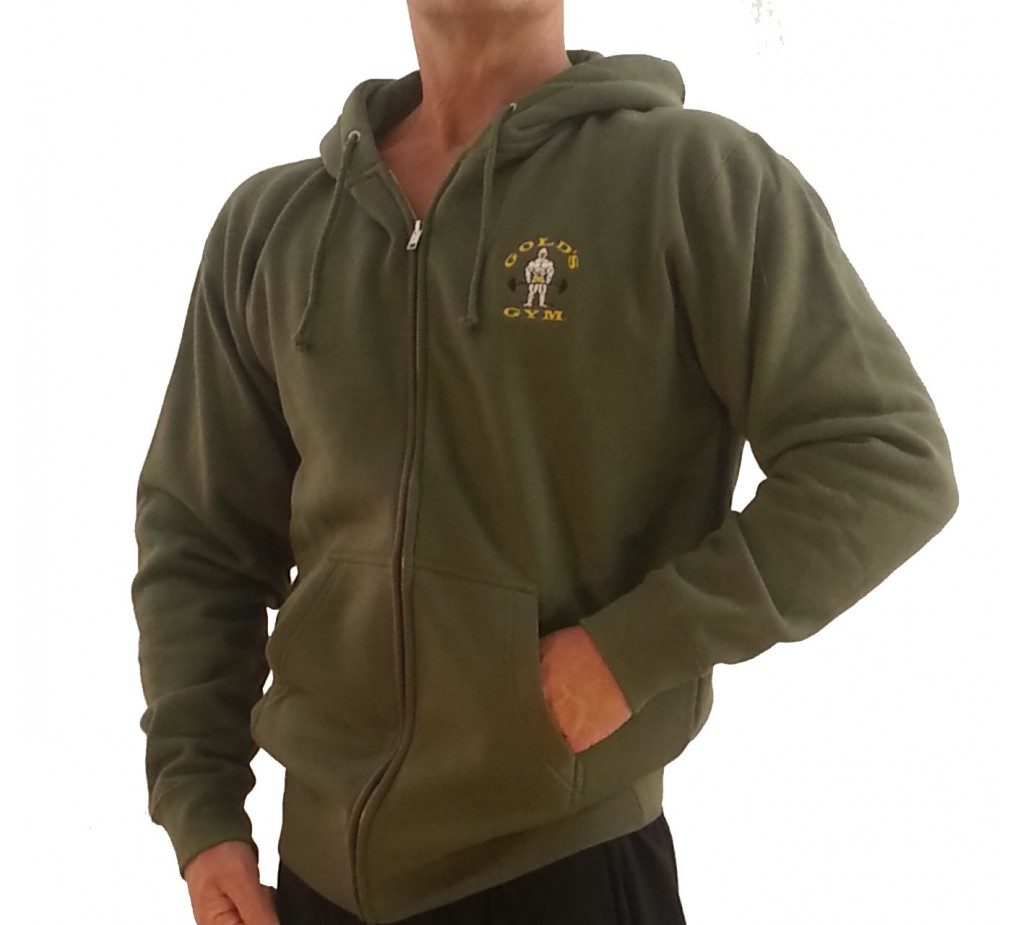 Zip Hoodie Gym Sweatshirt :G860 Golds Gym Bodybuilder Hoodie with Zipper - Old Joe Logo - Tank