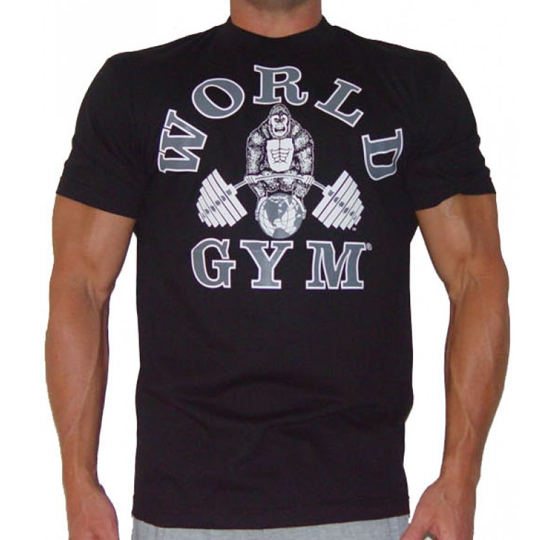 World gym bodybuilding shirt jumbo tank top fitness gear for Best fitness t shirts
