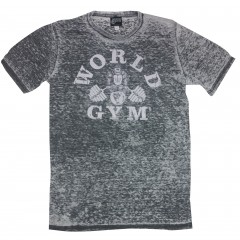 World Gym Gorilla Logo Grey Acid Wash burnout