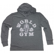 W860 Zip Muscle Hoodie World gym logo