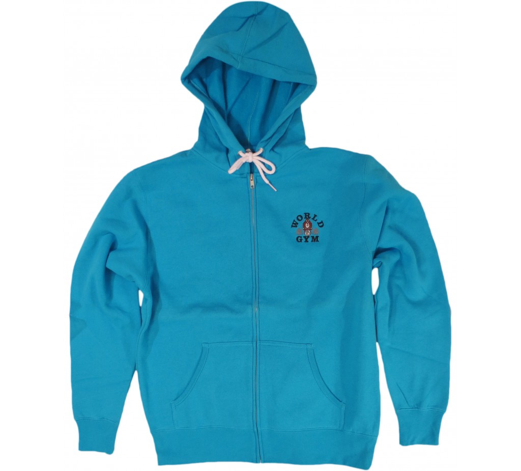 CLOSEOUT, BLOWOUT - Zip Muscle Hoodie World gym logo - W860